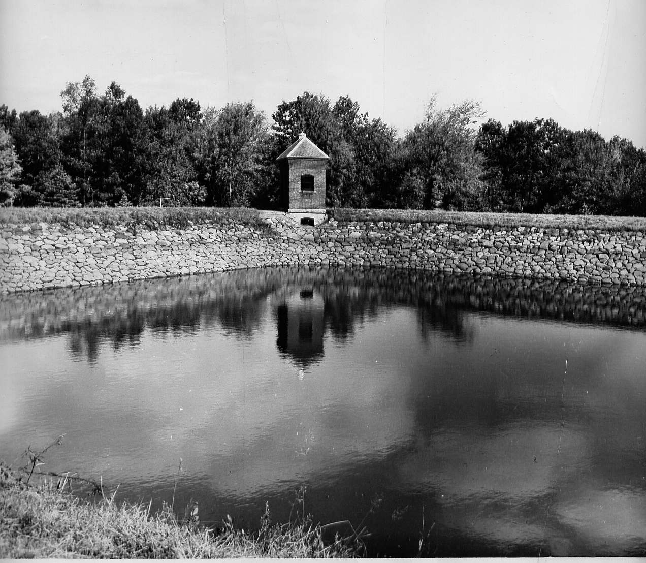 Sackett gatehouse overlooking the water in the receiving reservoir